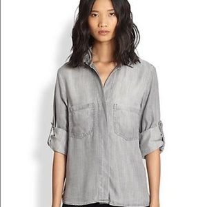 Bella Dahl Split Back Chambray Shirt Medium Grey